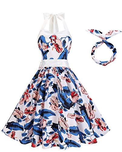 BI.TENCON Women 50s Vintage Floral Prints Rockabilly Retro Halter Neck Cocktail Swing Dress Blue White Flower Plus Size 2XL]()