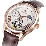 Timweis Automatic Mechanical Watch, Men Genuine Leather Waterproof Business Wristwatch with Day and Night Switching (Rose gold)