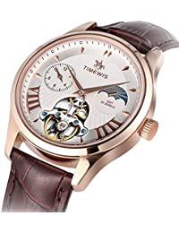 Automatic Mechanical Watch, Men Genuine Leather Waterproof Business Wristwatch with Day and Night Switching (Rose...