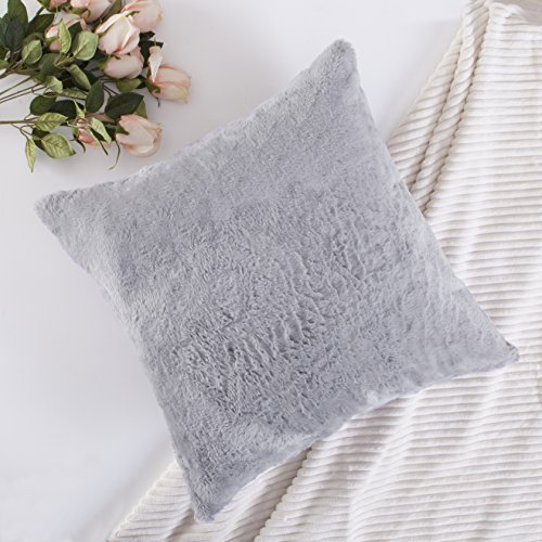 Lambswool Pillow (Home Brilliant Plush Fluffy Lambswool Faux Fur/Suede Cushion Cover Deluxe Decorative Square Throw Pillow Case for Party, Pillow Not Included, 1 Pc, 18 inch, Grey)