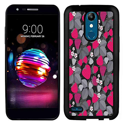 TPU Case Compatible with LG K10 2017 (5.3 Version) Fruit Art Strawberries Flowers and Leaves Icons Fruity Floral Repetition Magenta Dimgray Charcoal Grey