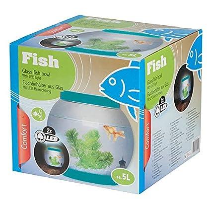 Ø21.5 cm 5 l redondo cuenco Fish Tank de cristal luz a LED Acuario