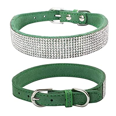 Sunward Bling Rhinestones Dog Collar - Soft Leather Made - Perfect For Pet Show & Daily Walking
