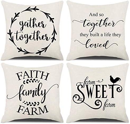 Kacopol Rustic Farmhouse Quote Pillow Covers Farmhouse Decorative Throw Pillow Case Cushion Cover With Words 18 X 18 Set Of 4 Farm Sweet Farm Faith Family Farm Gather Together Amazon Ca Home