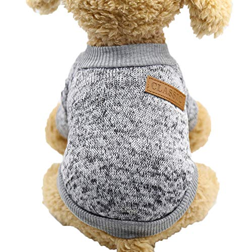 Yarn Cuff - bjlongyi Soft Warm Woolen Yarn Dog Sweater Pullover Windproof Cuff Winter Cat Jacket Coat Pet Clothes Supplies Grey XXL