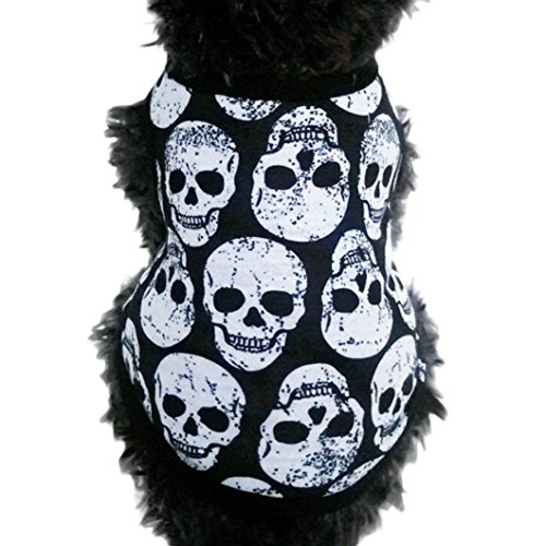 2017 Exclusive Pet Puppy Small Dog Cat Pet Clothes, Ninasill Pet Dog Skull Vest T-Shirt Apparel Clothes (S, White)]()