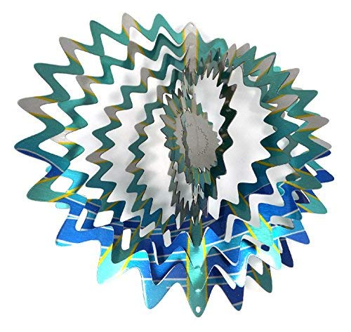- WorldaWhirl Whirligig 3D Wind Spinner Hand Painted Stainless Steel Twister Star (6.5 inch, Multi Color Teal Blue Silver)