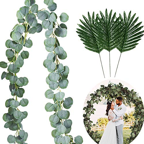 Artificial Vines Eucalyptus Garland Faux Silk Eucalyptus Leaves with 12pcs Tropical Palm Leaves,Home Wedding Backdrop Arch Hawaiian Luau Jungle Tiki Safari Party Decors (Palm Vine)
