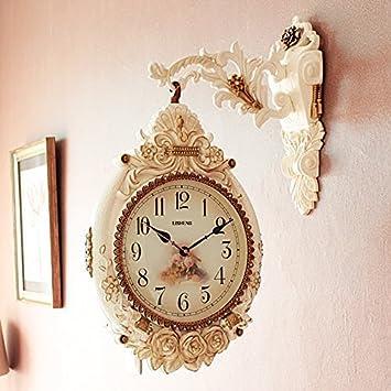 QQ doble cara reloj de pared de estilo europeo salón Gran tamaño moda mute reloj