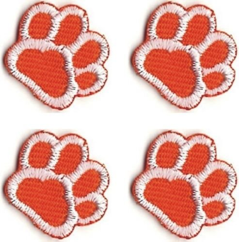 Lot of 4 Orange White Dog Animal Paw Print Embroidery Patch by ika_kev