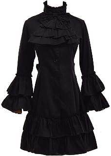 d280604eca Blessume Vintage Lolita Dress With Detachable Collar Gothic Batwing Sleeve  Dress Black
