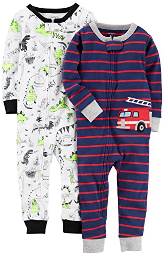 Carter's Baby Boys' 2-Pack Cotton Footless Pajamas, Fire Truck/Dino, 12 Months