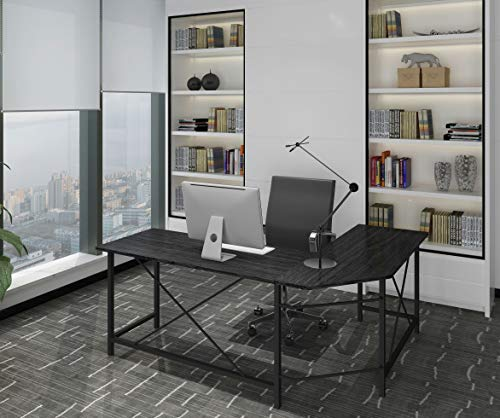 (Modern Computer Desk L Shaped Corner Desk Home Office Desks,More Stable Structure Table,Design by Ulikit (Black-1))
