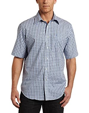 Mens Short Sleeve Wrinkle Gingham Shirt