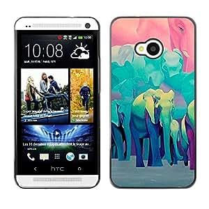 Be Good Phone Accessory // Dura Cáscara cubierta Protectora Caso Carcasa Funda de Protección para HTC One M7 // Teal Blue Africa Animals