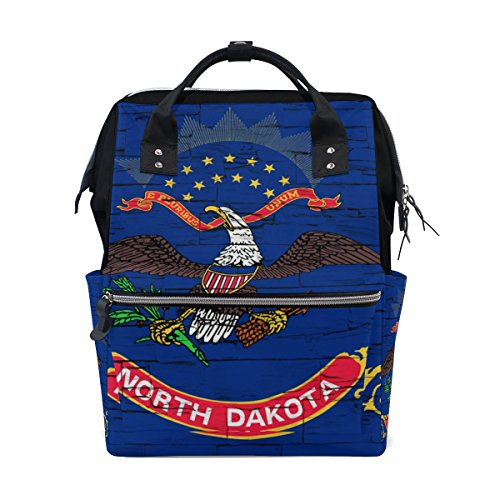Distressed North Dakota State Flag Mommy Bag Mother bag Travel Backpack Diaper Bag Daypack Nappy Bags for Baby Care Large Capacity