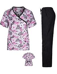 Women's Printed Scrub Sets Top & Pant Sizes XS S M L XL 2XL Multiple Prints Nursing