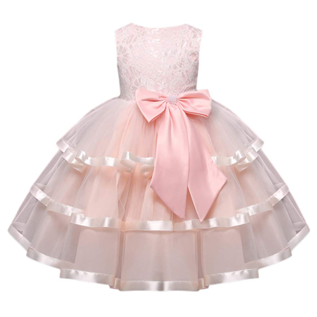 Baby Kids Little Girls Lace Sleeveless Princess Wedding Performance Formal Party Princess Dress Children Clothes