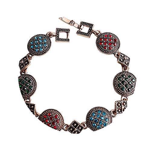 (Ancient Rose Gold Vintage Bracelets for Women Colorful Rhinestone Bohemian Bracelets & Bangles Pulseras M)