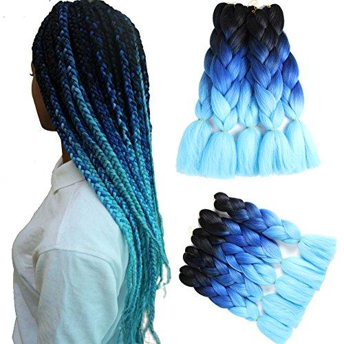 Braiding Hair Jumbo Braid Two Tone Ombre Hair Extension Synthetic Kanekalon Fiber 100g/Pc Pack Of 5 (24'' Black To Royal Blue To Light Blue) ()