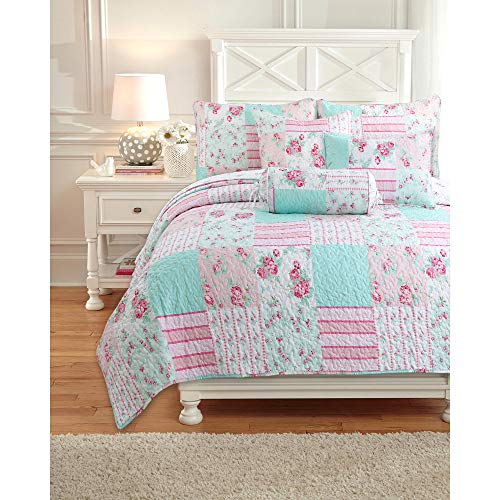 Cozy Line Home Fashions Pink Floral Tiffany Blue Reversible Quilt Bedding Set, Coverlet Bedspread (Pink Garden, Twin - 2 Piece)