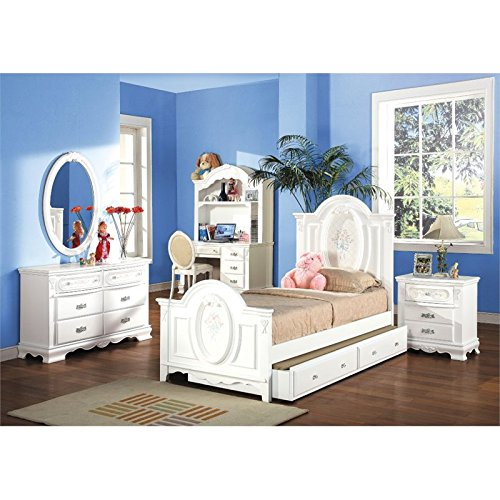 ACME 01680T Flora Panel Bed, Twin, White (Girls Sleigh Bed)