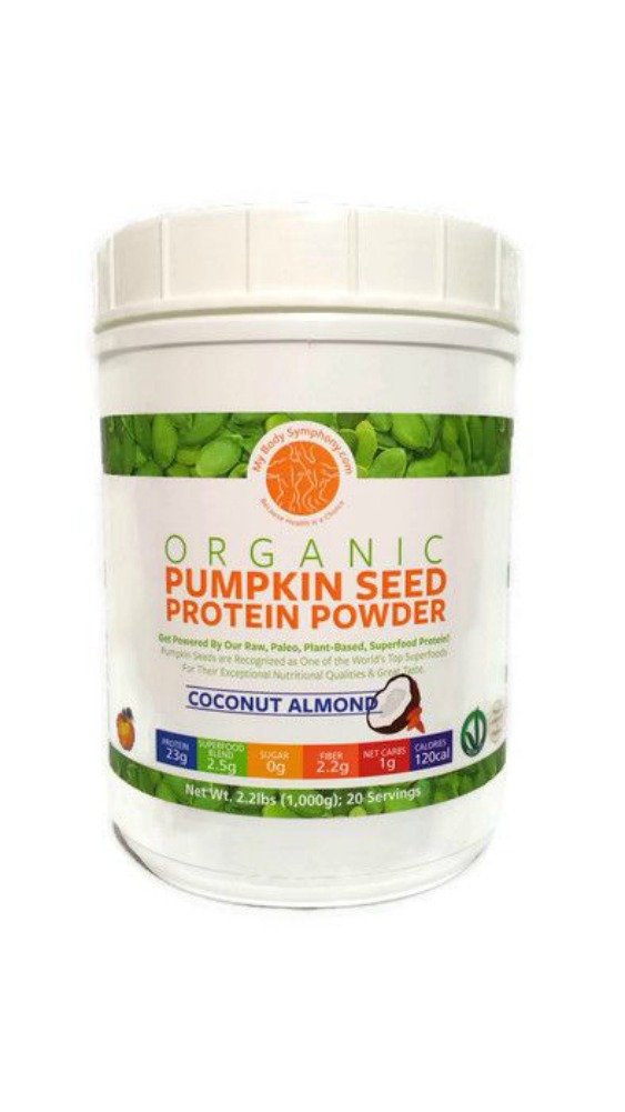 Organic Pumpkin Seed Protein Powder: The World's Best Tasting & Most Complete Plant-Based Protein Powder Vegan Plant Based Protein Powder Paleo - 20 Servings Coconut Almond Flavor - 2.2 lbs. by Body Symphony