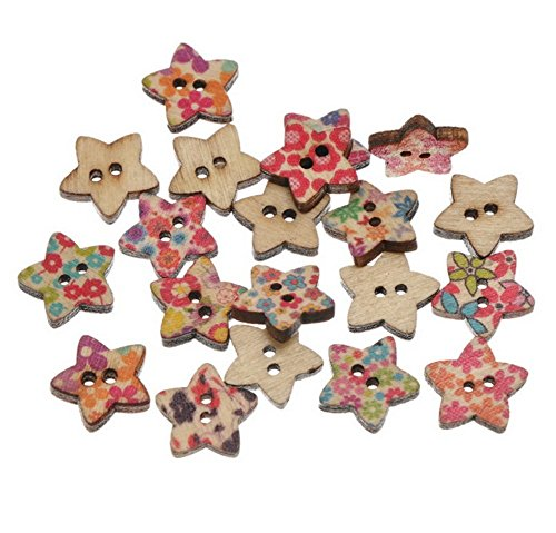 100PCS Kanggest Star Printed Wood Buttons for Sewing and Crafting DIY Craft-15MM – The Super Cheap