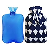 2 Liter Hot Water Bottle, Ease Aches and Pains Aid Comfort Sleep, Light Blue Bottle + Cute Coral Fleece Cover-Blue Water Drop