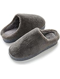 Slippers for Men Women Washable Closed Toe Ultra Lightweight Cotton Indoor Slipper Black, Grey