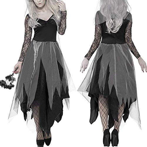 TOOGOO Halloween Women Costume Graveyard Bride Corp Dress Ladies Black Lace Cosplay Fancy Dress Party L]()