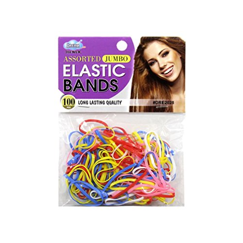 100pcs Dream Jumbo Elastic Bands Rubber Hairbands Ponytail Holder Braids Ties (Flash Rubber Wig)