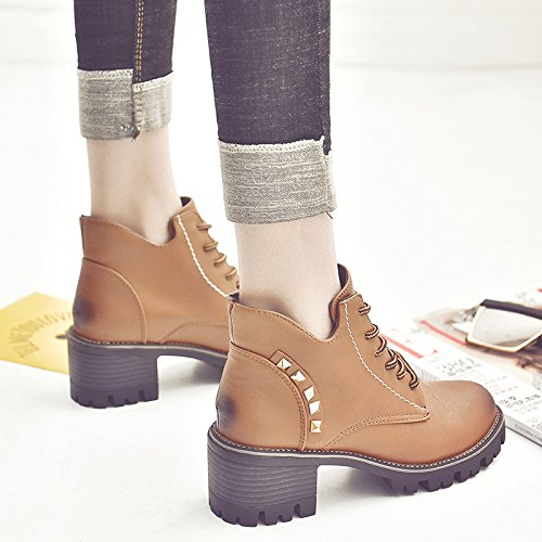 GTVERNH-Autumn And Winter Tie Martin Boots British Riveted Short Boots High Heel Thick Heel Boots Round Head Female Boots 6Cm Brown AdHguR
