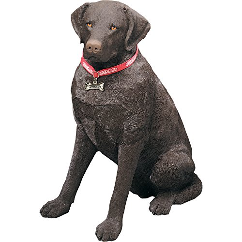 Sandicast Life Size Chocolate Labrador Retriever Sculpture, Sitting
