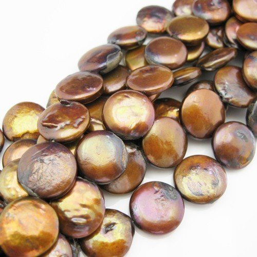 Freshwater Pearls Beads 14mm Coin Shape Brown Color (Sold Per Strand) ()