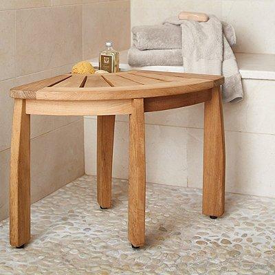 Amazon.com: Spa Teak Corner Shower Seat with Basket - Frontgate ...