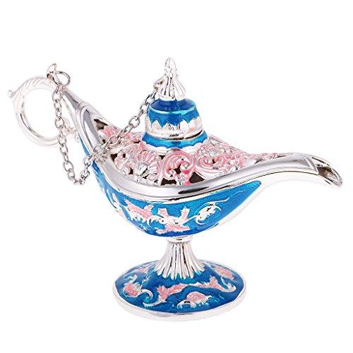 MonkeyJack Zinc Alloy Flower Craved Oil Lamp Light Aladdin Jewelry Box Magic Genie Lamp Wishing Pot Ring Holder - Blue