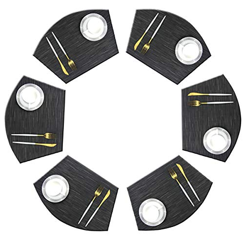 Bright Dream Wedge Placemats for Round Kitchen Table Woven Vinyl Wipe Off Plastic Non Slip Table Mats Set of 6(Black)