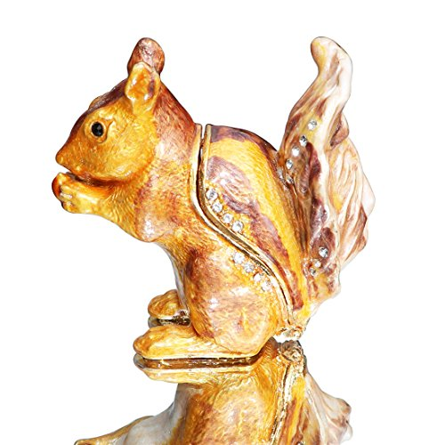 Waltz&F Cute Squirrel Trinket Box Hinged Hand-Painted Figurine Collectible Ring Holder with Gift Box ()