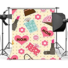 Gladbuy Vinyl 3X5FT Happy Mother's Day Backdrop Thanks Mum Gifts Flowers Lipstick Dots Romantic Photography Background for Mummy Party Decoration Wallpaper Photo Studio Props KX314