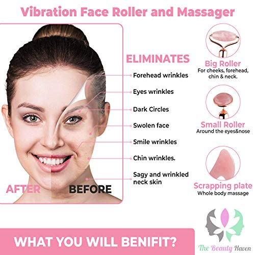 The Beauty Haven Electric Jade Roller for Face & Gua Sha Set for Body – Natural Rose Quartz Stone Facial Massager with…