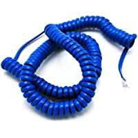 Telephone Cord Handset Curly - Phone Color Classic Blue 15ft - Works on virtually all Trimline Phones and Princess Telephones - Landline Telephone Accessory iSoHo Phones