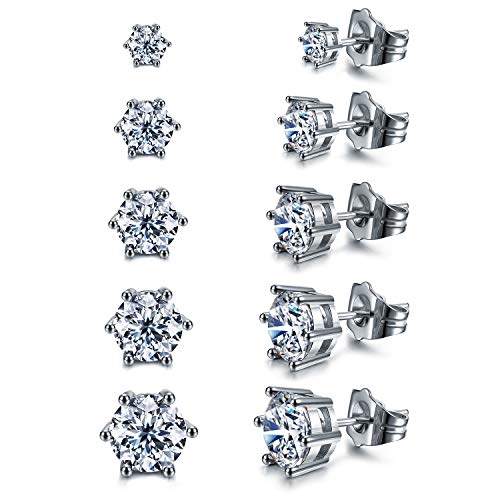 Women's 18K White Gold Plated CZ Stud Earrings Simulated Dia
