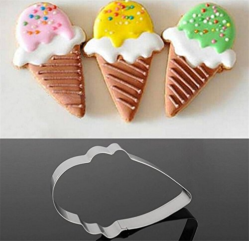 1pc Stainless Steel Ice Cream Cone Cake Biscuit Cookie Cutter Bread Cupcake Mold Cute ()