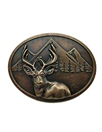 50 Pointer Deer Mountain Belt Buckle Brass