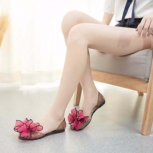 Angelliu Femmes Bohème Fleur Décoration Peep Toe Été Plage Claire Gelée Sandales Flats Rouge