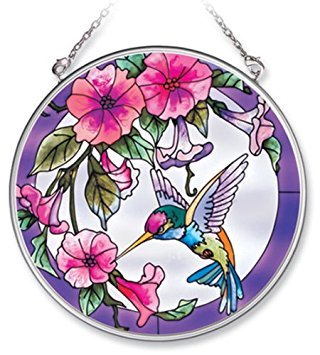 (Amia Handpainted Glass Pink Morning Glory and Hummingbird Suncatcher, 4-1/2-Inch)