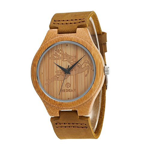 Women's Bamboo Wooden Watch with Genuine Leather Strap Japanese Quartz Movement