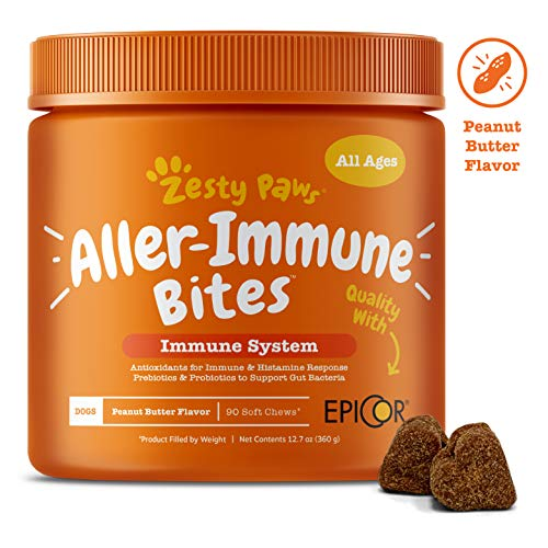 Allergy Immune Supplement for Dogs Peanut Butter - With Omega 3 Wild Alaskan Salmon Fish Oil, EpiCor, Digestive Prebiotics & Probiotics - Seasonal Allergies + Skin Itch & Hot Spots - 90 Chew Treats ()