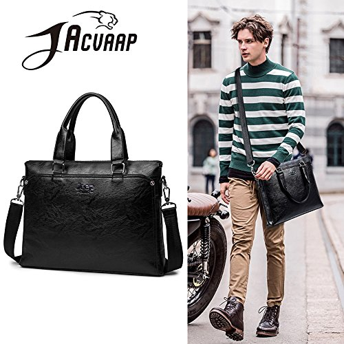 Computer Bag Black k Men's Diagonal Tote Jn Business 2018 Waterproof Brown 3090 A4 Pu Shoulder Leather pxqfwnvBS7